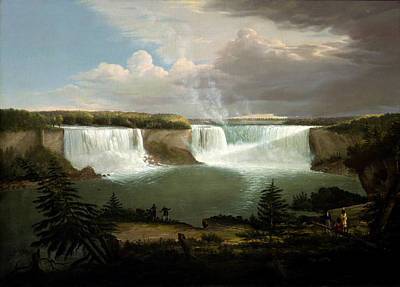 Waterfalls And Trees Landscape Painting - A General View Of The Falls Of Niagara by Alvan Fisher