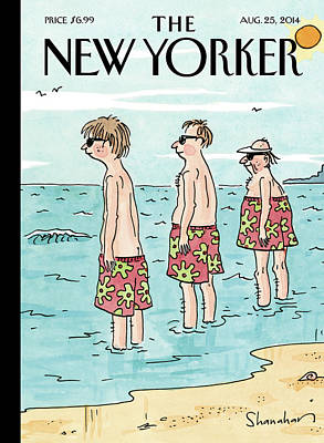 Fashion Painting - A Generation Of Men And Their Swim Trunks Stand by Danny Shanahan