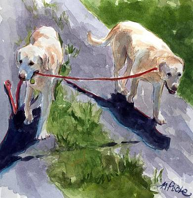 Dog Walking Painting - A Gentle Lead by Molly Poole
