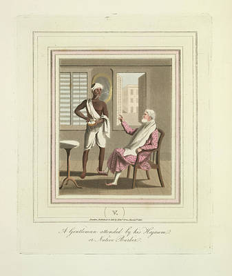 A Gentleman And A Barber Art Print by British Library