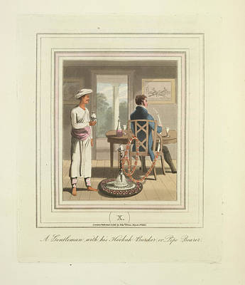 A Gentleman And A Pipe Bearer Art Print by British Library