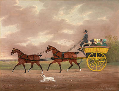 Carriage Driving Painting - A Gentleman Driving Tandem To A Jaunting Car Going by Litz Collection