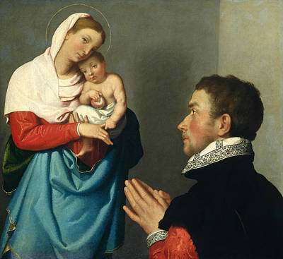 Religious Art Painting - A Gentleman In Adoration Before The Madonna by Giovanni Battista Moroni