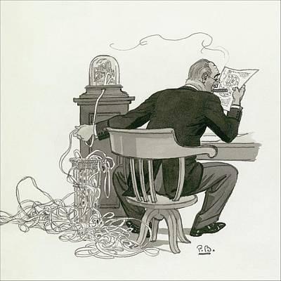 A Gentleman Reading Next To A Ticket Tape Machine Art Print