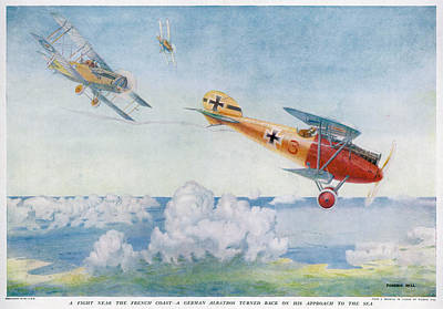 Albatross Drawing - A German 'albatros' Is  Pursued By Two by Mary Evans Picture Library