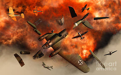 Destruction Digital Art - A German Heinkel Bomber Plane Blowing by Mark Stevenson