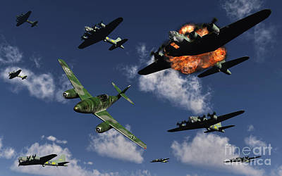 Destruction Digital Art - A German Me 262 Jetfighter Attacking by Mark Stevenson