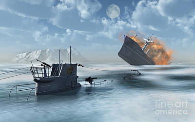 Destruction Digital Art - A German U-boat Attacking And Sinking by Stocktrek Images