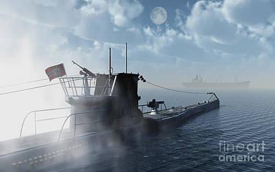 A German U-boat Moving In Against An Art Print by Mark Stevenson