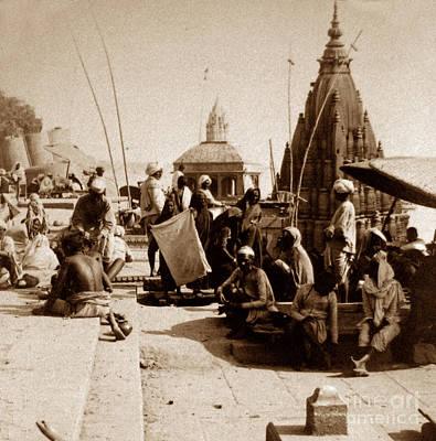 Cremation Ghat Photograph - A Ghat Benares India by The Keasbury-Gordon Photograph Archive