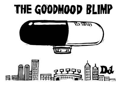 Pill Drawing - A Giant Blimp That Looks Like A Pill Flies by Drew Dernavich