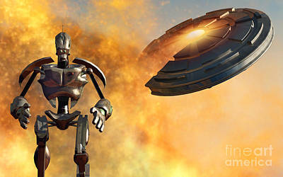 Destruction Digital Art - A Giant Robot And Ufo On The Attack by Mark Stevenson