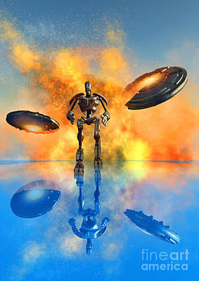 Destruction Digital Art - A Giant Robot And Ufos On The Attack by Mark Stevenson