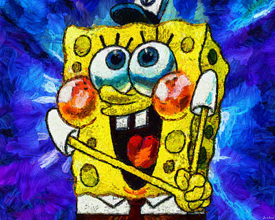 Digital Art - A Giddy Spongebob by Joe Misrasi