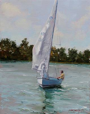 Summer Sports Painting - A Gift Of Memories On Rhodes19 by Laura Lee Zanghetti