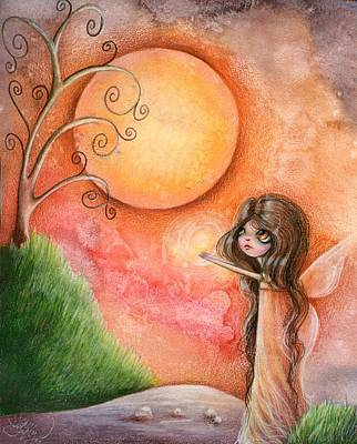 Whimsy Drawing - A Gift To The Moon by Sour Taffy