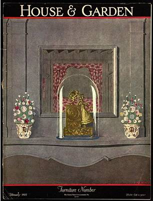 Photograph - A Gilded Mantle Clock In A Bell Jar by Andre E.  Marty
