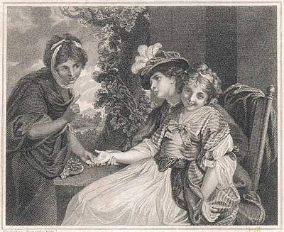 Palm reading drawings fine art america palm reading drawing a gipsy reading the palm of a shy girl by mary evans m4hsunfo