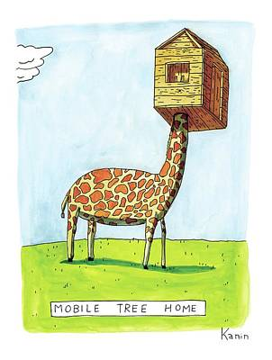 Giraffe Drawing - A Giraffe Has A Tree House Over His Head by Zachary Kanin