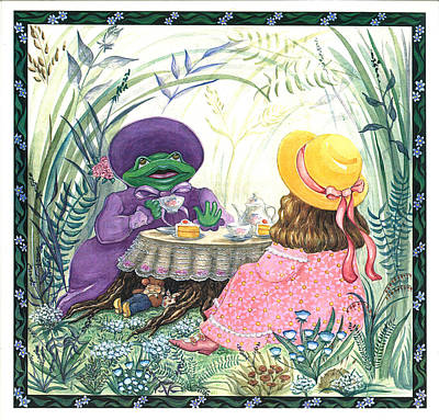 Tea Party Painting - A Girl And A Frog by Nonna Mynatt