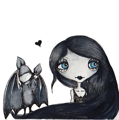 Bat Girl Drawing - A Girl And Her Bat by Darnel Tasker