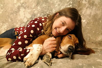 Basset Hound Photograph - A Girl And Her Dog  by Jeff Swan