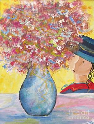 Art Print featuring the painting A Girl And Her Flower Vase. by Nereida Rodriguez