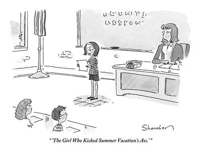 September 19th Drawing - A Girl Delivers A Report In Front Of Her Class by Danny Shanahan