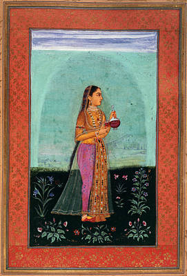 A Girl Holding A Glass & Cup Print by British Library