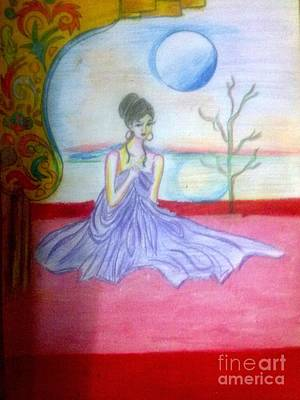 Syeda Ishrat Drawing - A Girl In Dream Night by Syeda Ishrat