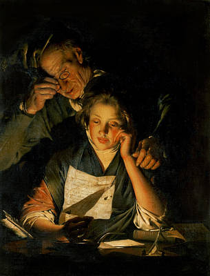 A Girl Reading A Letter, With An Old Man Reading Over Her Shoulder, C.1767-70 Art Print