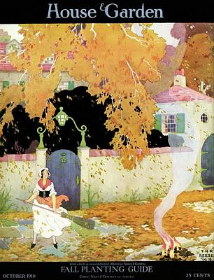 A Girl Sweeping Leaves Art Print