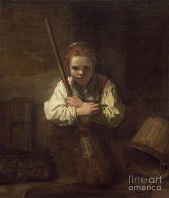 Leaning Painting - A Girl With A Broom by Rembrandt
