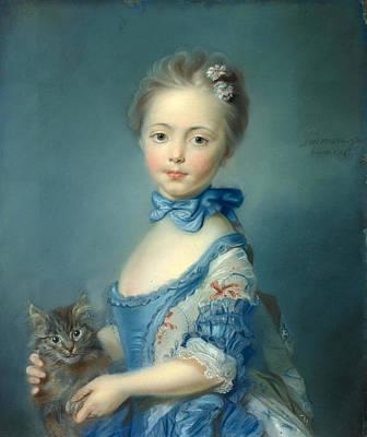 A Girl With A Kitten Art Print