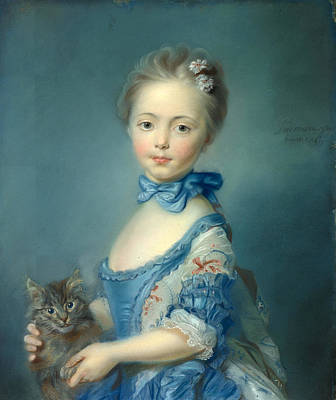 A Girl With A Kitten Art Print by Jean-Baptiste Perronneau