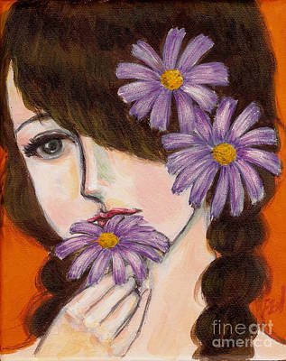 Feminine Beauty Painting - A Girl With Daisies by Jingfen Hwu