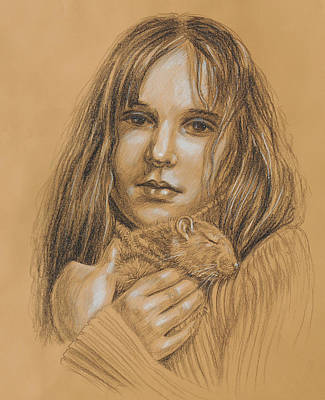 Girl Face Drawing - A Girl With The Pet by Irina Sztukowski