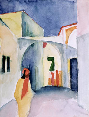 Expressionism Photograph - A Glance Down An Alley Wc by August Macke