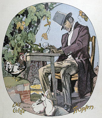 Glass Bottle Drawing - A Glass Of Wine. Food And Drink, Liszt Gourmet Archive by Gotz, Ferdinand (1874-1936), German