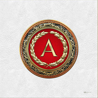 Digital Art - A - Gold Vintage Monogram On White Leather by Serge Averbukh