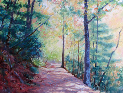 Woodland Trail Painting - A Golden Day by Bonnie Mason