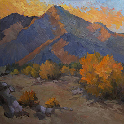 Desert Sunset Painting - A Golden Sky by Diane McClary