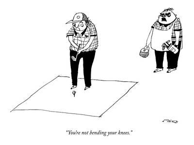 Golf Drawing - A Golf Pro Teaches A Man With A Tiny Golf Club by Edward Steed