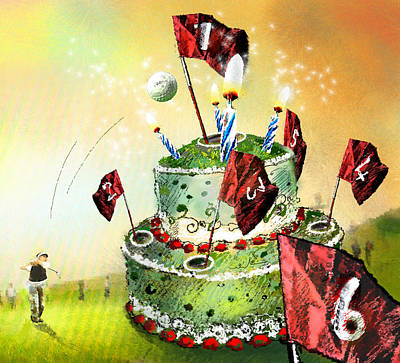 Painting - A Golfers Birthday Cake by Miki De Goodaboom