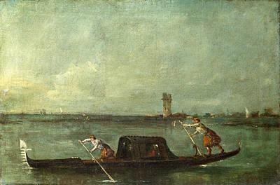 Francesco Guardi Painting - A Gondola On The Lagoon Near Mestre by Francesco Guardi