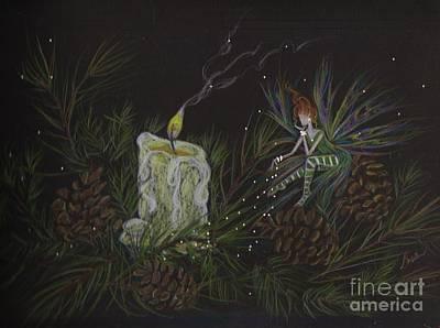 Pine Needles Drawing - A Good Long Think by Dawn Fairies