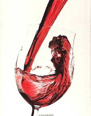 Red Wine Drawing - A Good Wine by Gary Fernandez