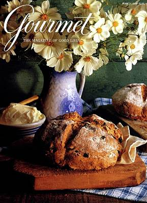 Wooden Bowl Photograph - A Gourmet Cover Of Bread And Flowers by Romulo Yanes