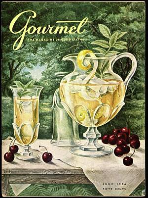 A Gourmet Cover Of Glassware Print by Hilary Knight