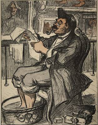 Caricature Drawing - A Government Official Reading by Eugene Cadel